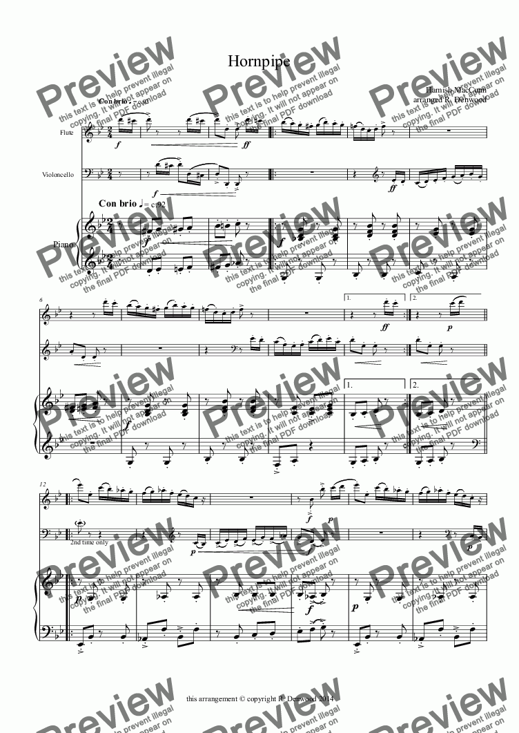 page one of Mac Cunn - Hornpipe for Flute, Cello and Piano