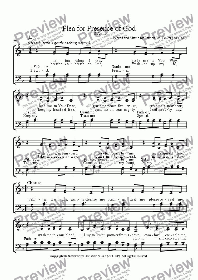 page one of Plea for Presence of God (a cappella SATB)