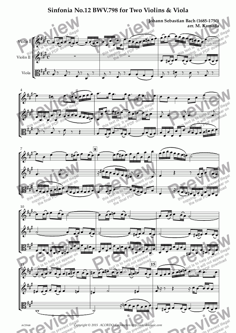 page one of Sinfonia No.12 BWV.798 for Two Violins & Viola