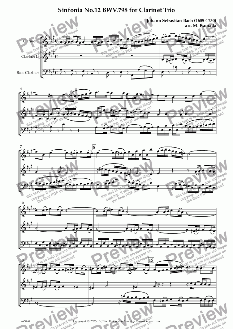 page one of Sinfonia No.12 BWV.798 for Clarinet Trio