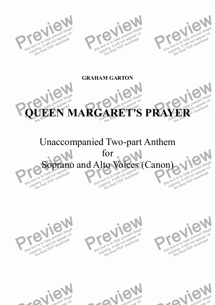 page one of ANTHEM - QUEEN MARGARET'S PRAYER Two-Part for Soprano and Alto Voices a cappella