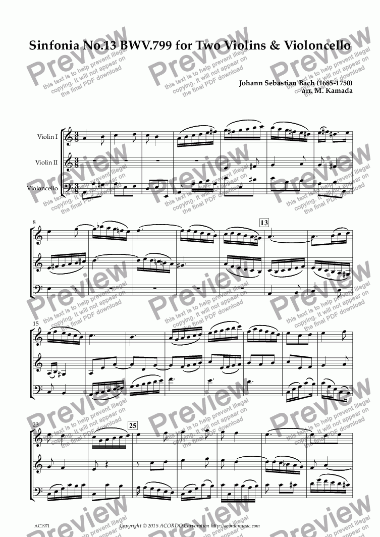 page one of Sinfonia No.13 BWV.799 for Two Violins & Violoncello