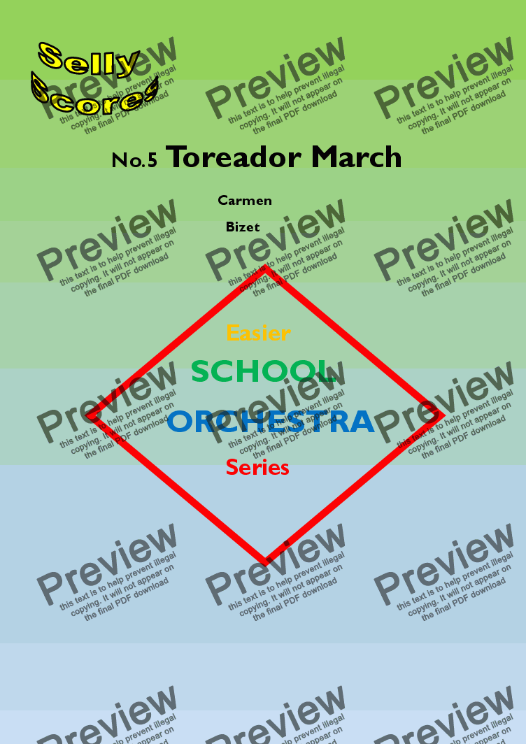 page one of EASIER SCHOOL ORCHESTRA SERIES 5 Toreador March