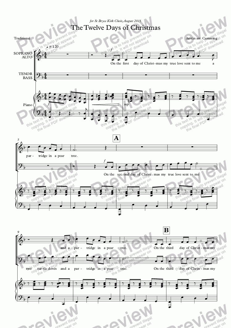 "page one of ""The Twelve Days of Christmas"" for SATB choir & piano"
