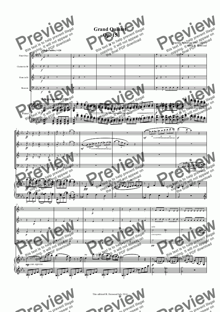 page one of Sayve - Grand Quintet Op.15 for Flute or Oboe, Bb Clarinet, Eb Horn, Bassoon and Piano (original instrumentation)ASALTTEXT