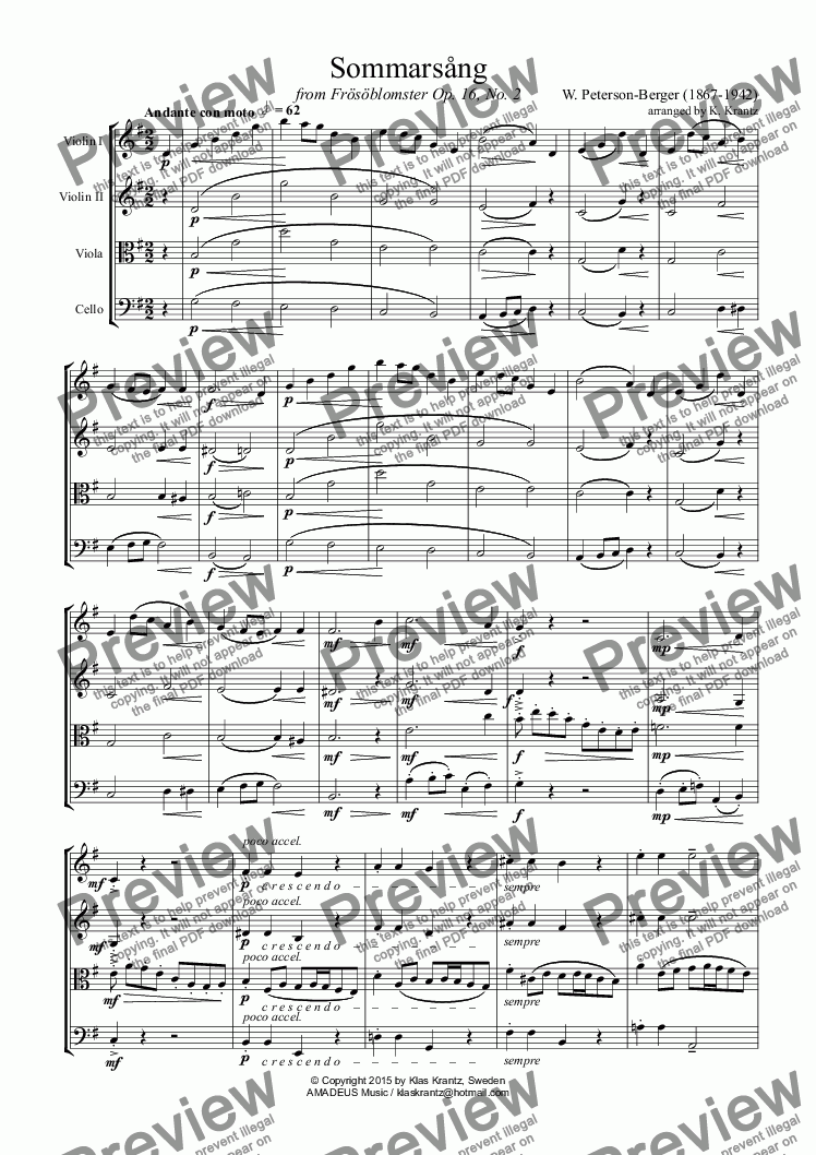 page one of Sommarsång (Summer Song) for string quartet