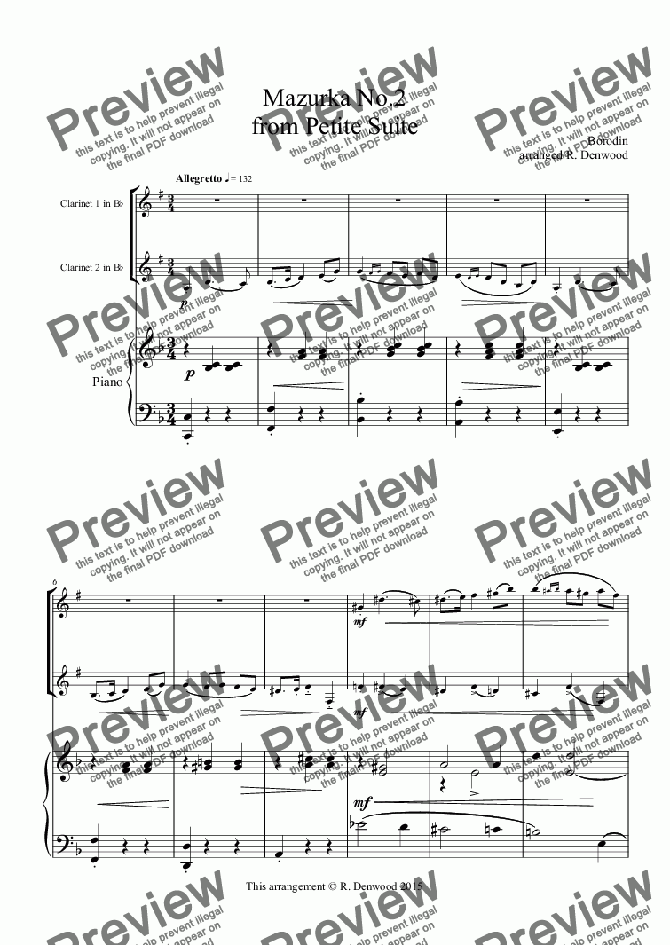 page one of Borodin - Mazurka from Petite suite, for 2 Clarinets & Piano