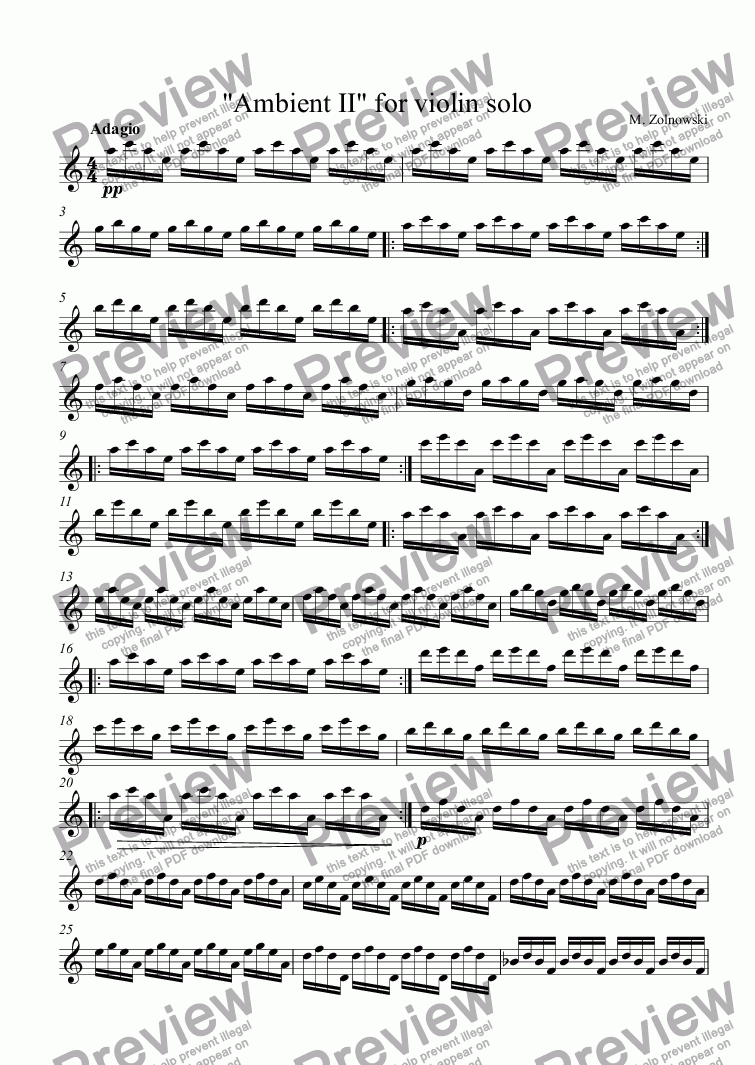 "page one of ""Ambient II"" for violin solo"