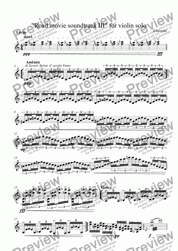 "page one of ""Road movie soundtrack III"" for violin solo"