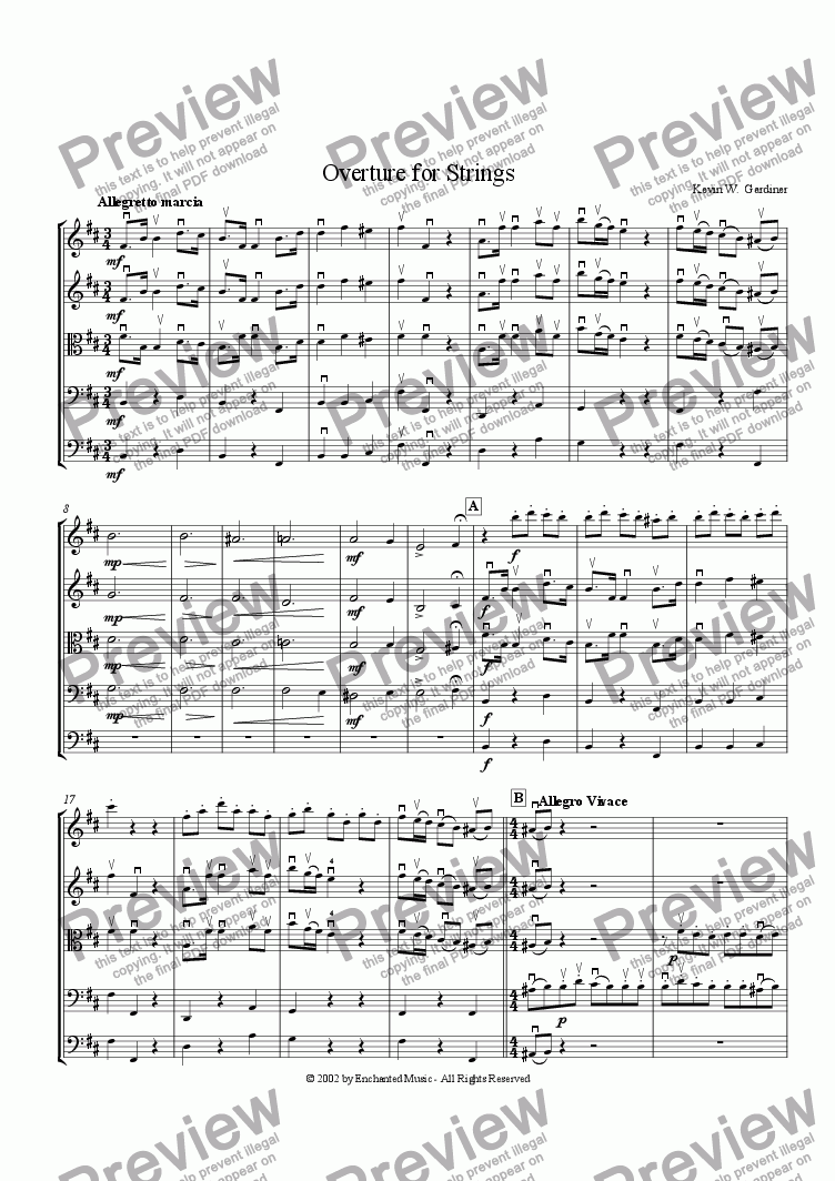 page one of Overture for Strings