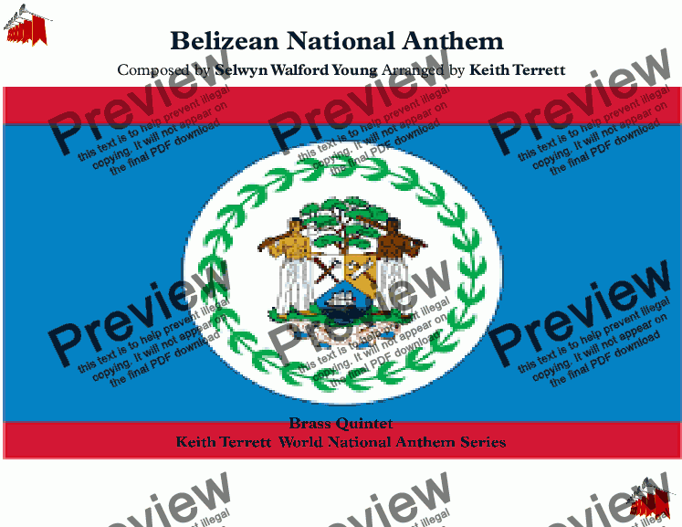 "page one of Belizean National Anthem ""Land of the Free'' for Brass Quintet (World National Anthem Series)"