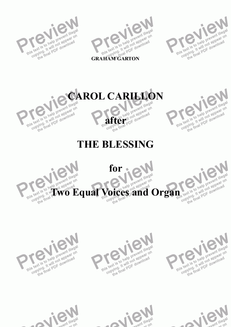 page one of CAROL - 'CAROL CARILLON'  after the BLESSING for two Equal Voices and organ