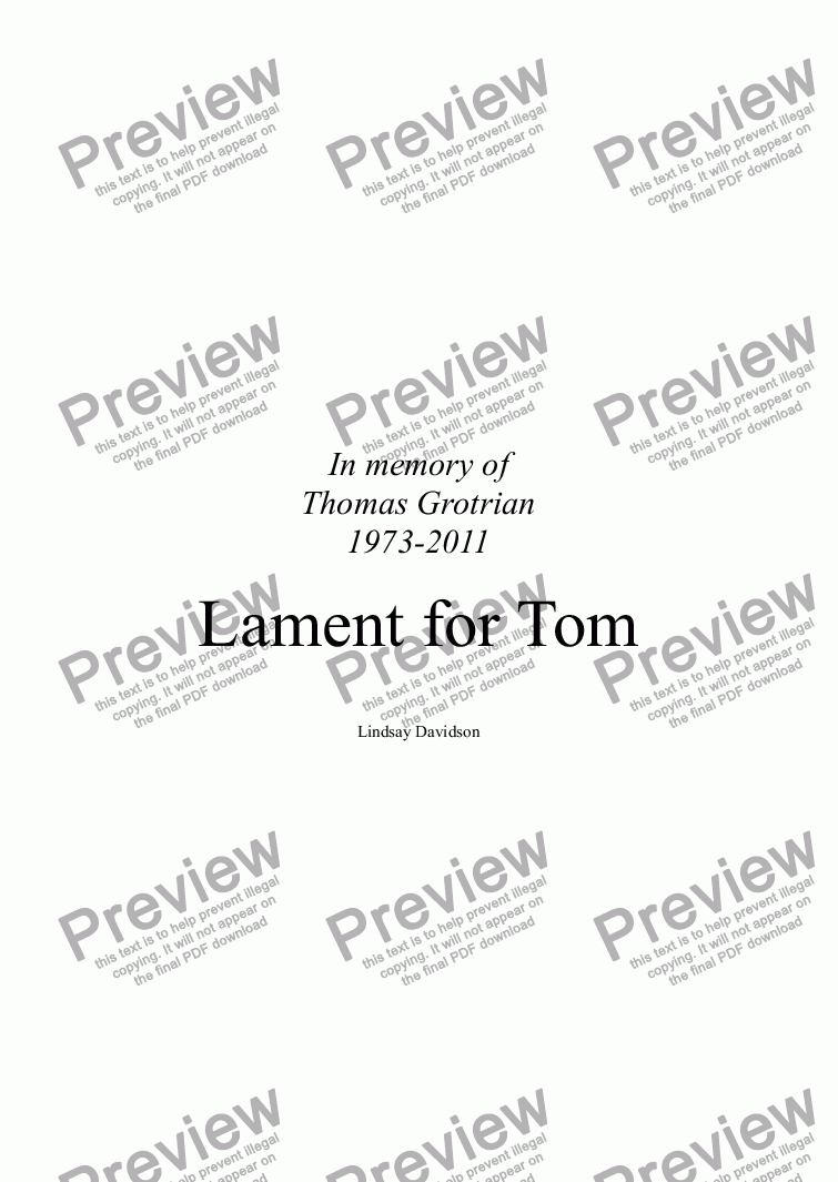 page one of Lament for Tom