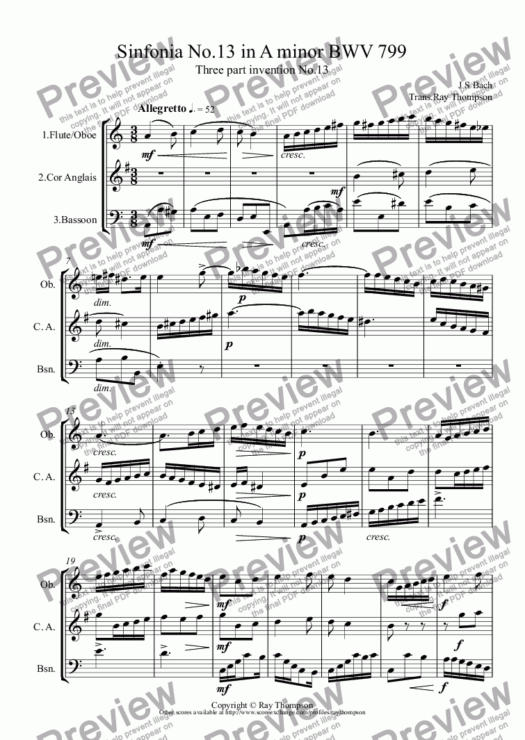 Bach: Sinfonia No 13 in A minor (Three part invention No 13) BWV 799  arr woodwind trio (oboe/flute, cor anglais, bassoon (opt cl/bass cl) for  Woodwind