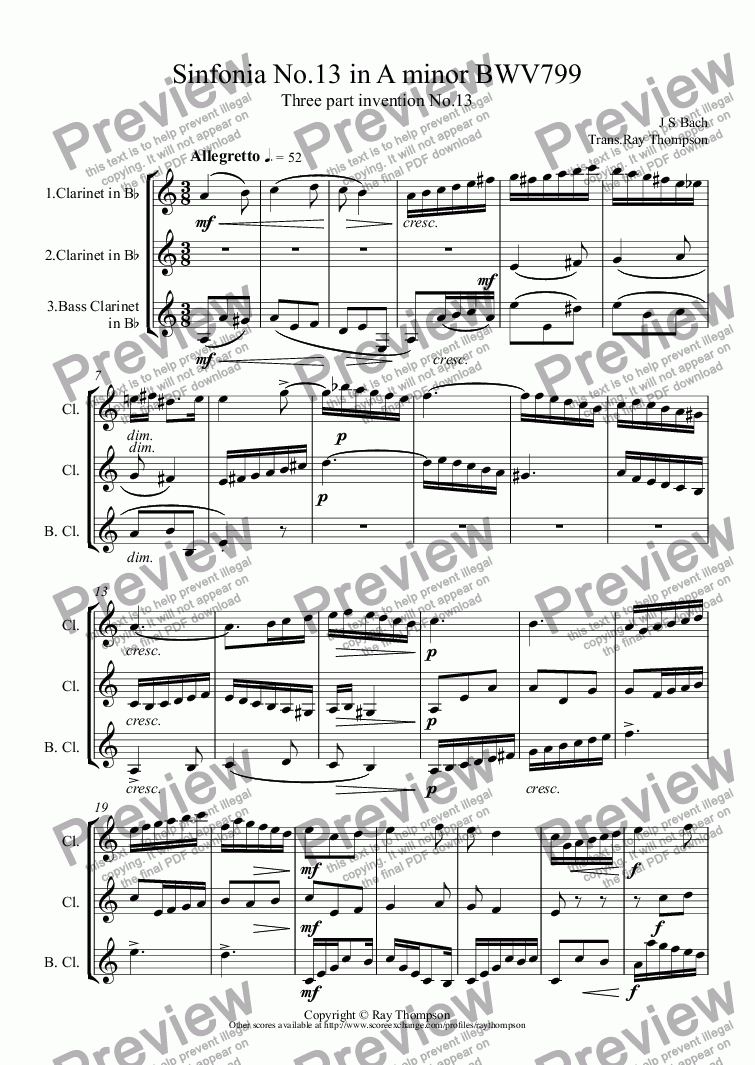 page one of Bach: Sinfonia (three part invention) No.13 in A minor BWV799 arr. clarinet trio