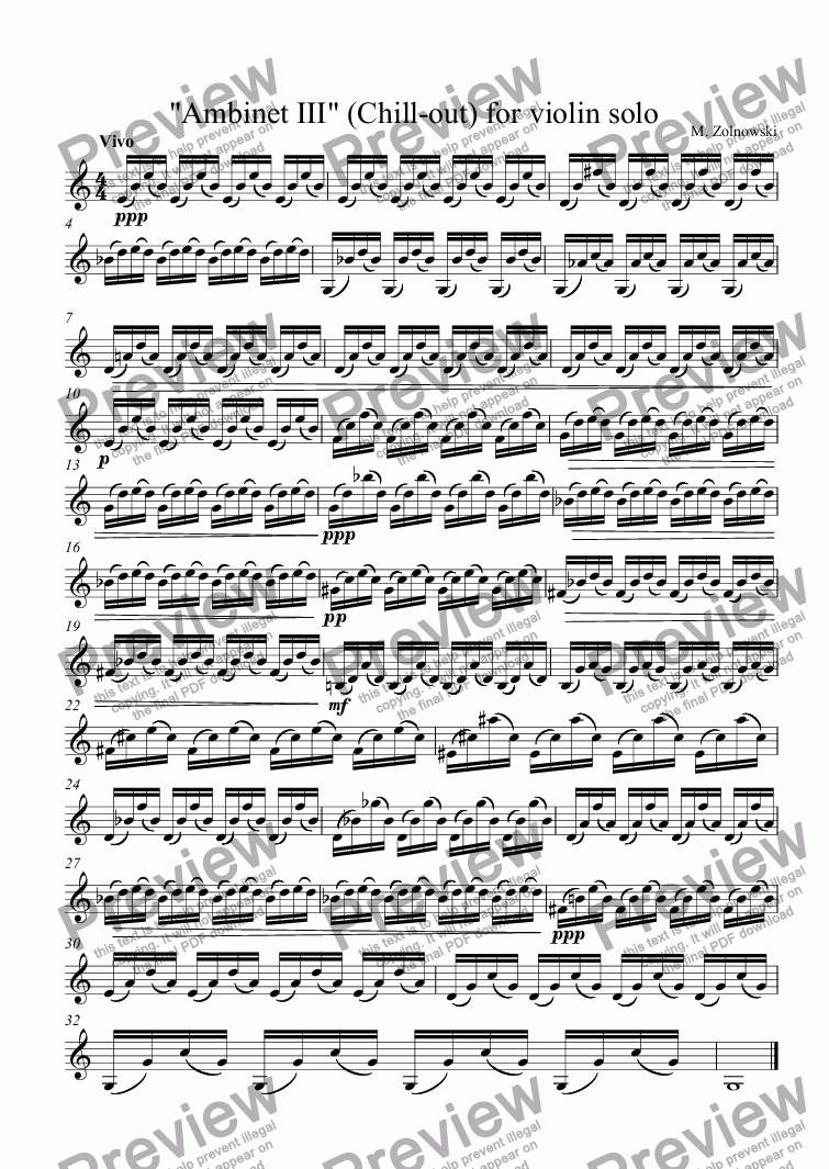 "page one of ""Ambinet III"" (Chill-out) for violin solo"