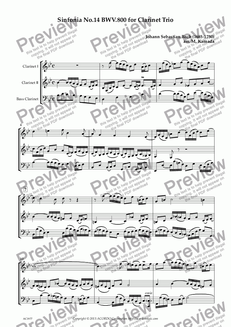page one of Sinfonia No.14 BWV.800 for Clarinet Trio