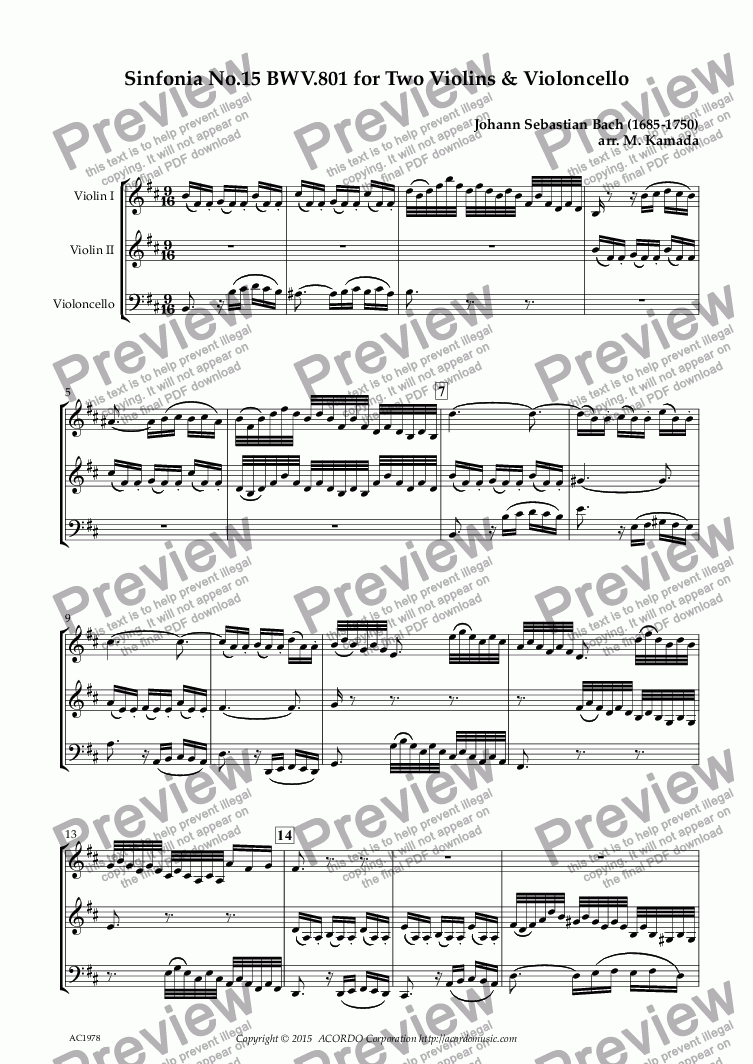 page one of Sinfonia No.15 BWV.801 for Two Violins & Violoncello