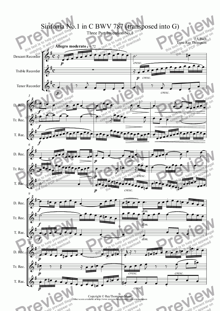 page one of Bach: Sinfonia (three part invention) No.1 in C BWV 787 (transposed into G) arr high recorder trio (DTT/SAT)ASALTTEXT