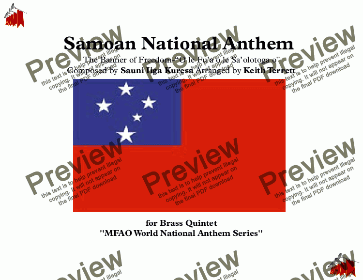 "page one of Samoan National Anthem ''The Banner of Freedom'' -""O le Fu'a o le Sa'olotoga o'' for Brass Quintet (MFAO World National Anthem Series)"