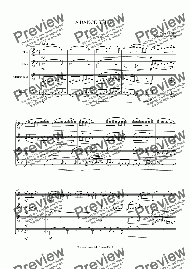 page one of Whittaker - A DANCE SUITE for wind quartet Fl.Ob.Cl.Bn.