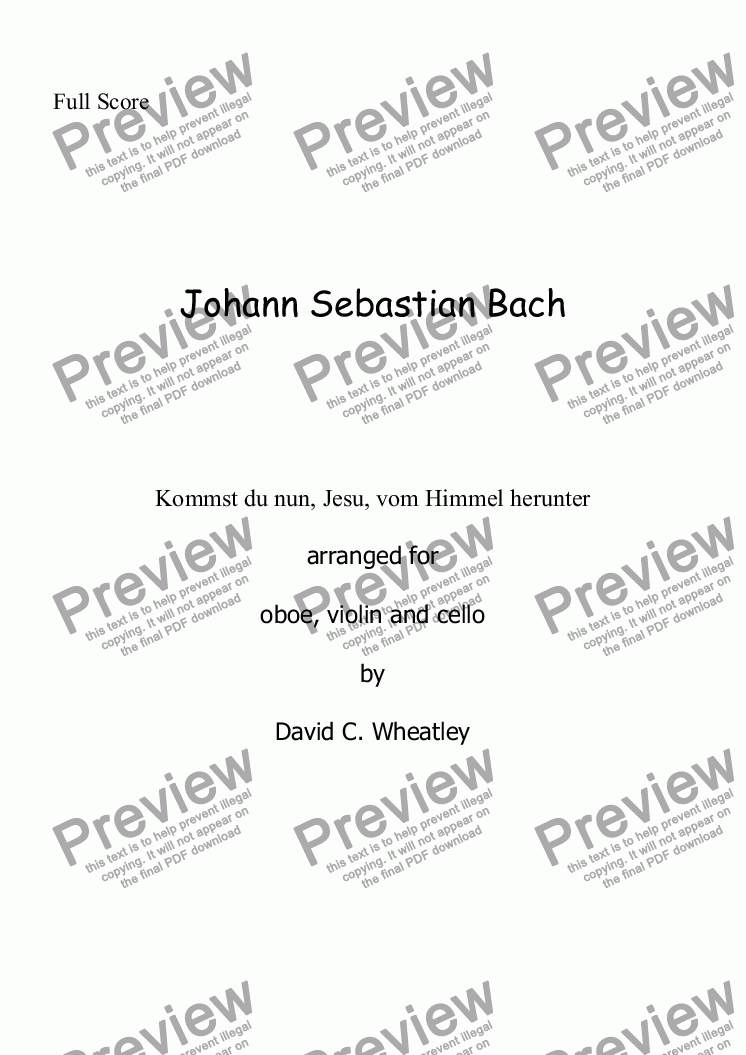 page one of Bach - Trio: Kommst du nun, Jesu - transcribed for oboe, violin and cello by David Wheatley