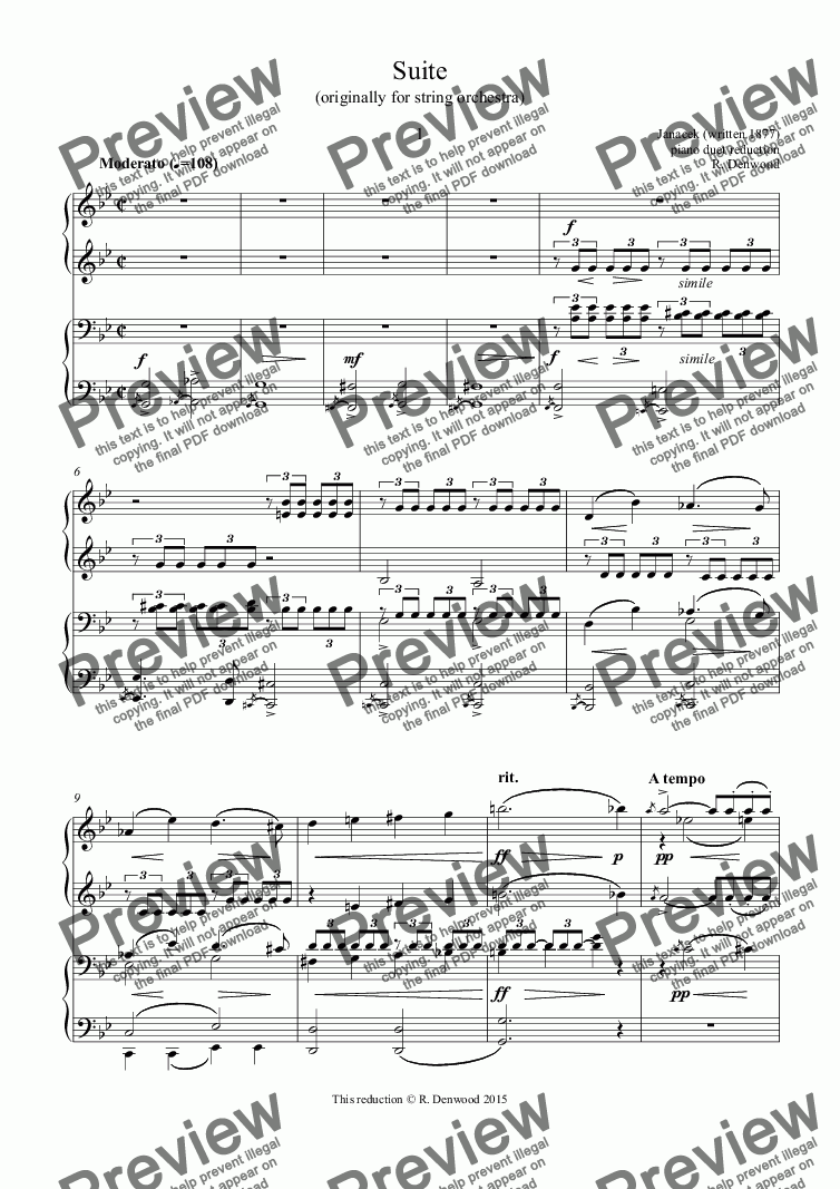 page one of Janacek - Suite for strings (1897), arranged for piano duet
