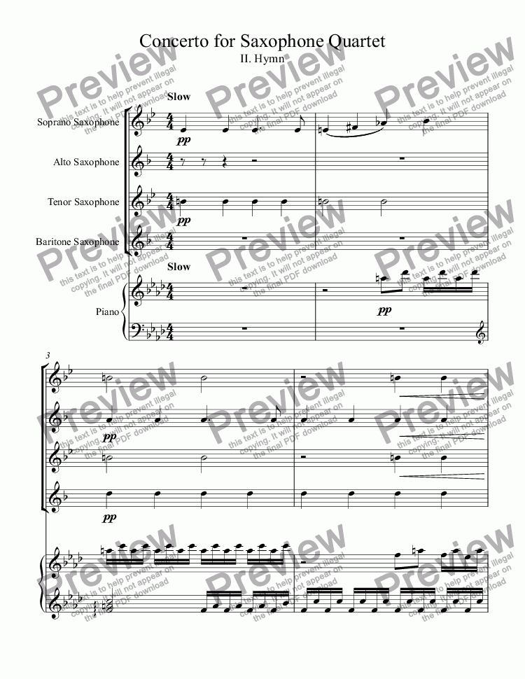 page one of Concerto for Saxophone Quartet - Mvt. 2