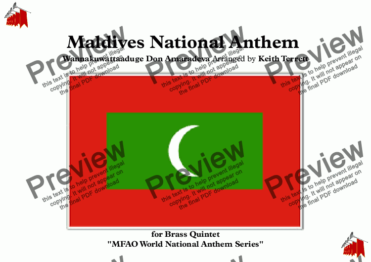 "page one of Maldivian (Maldives) (""Qaumii Salaam"") National Anthem for Brass Quintet (MFAO World National Anthem Series)"