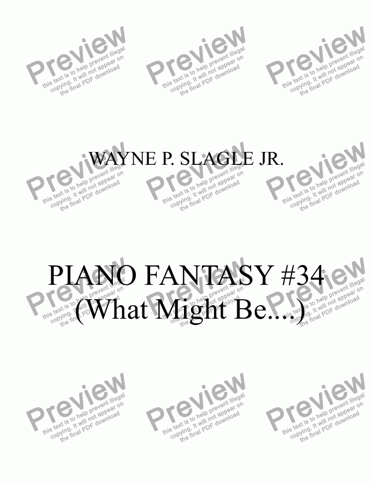 page one of PIANO FANTASY #34 (What Might Be....)