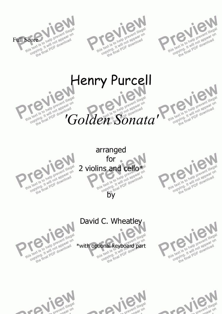 page one of Purcell 'Golden' Trio Sonata for 2 violins and cello