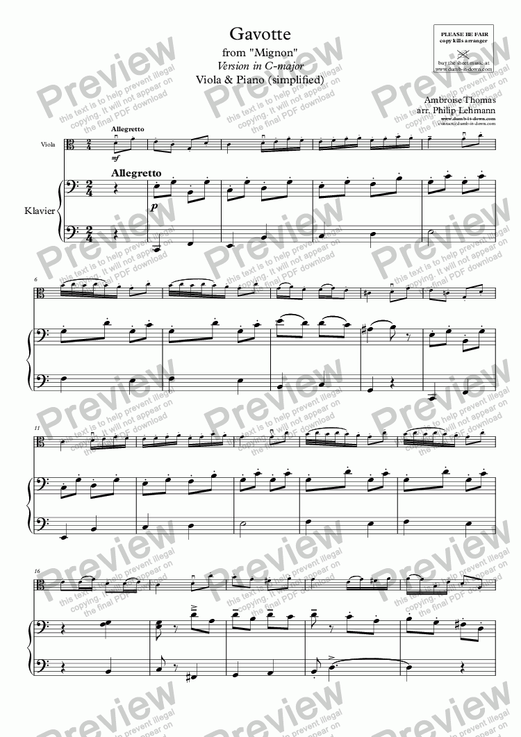 page one of Thomas, A. - Gavotte from Mignon - for Viola (orig.) & Piano (simplified)ASALTTEXT