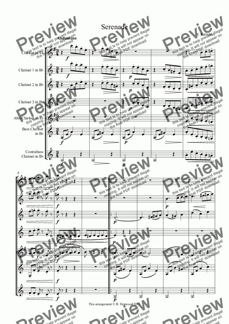 page one of Kalinikov - Serenade for Clarinet Choir