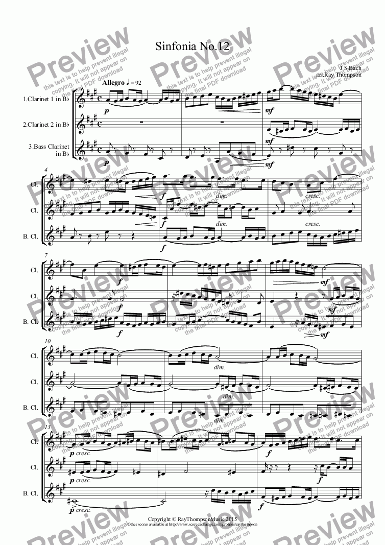 page one of Bach: Sinfonia (Three part Invention) No.12 in A arr.clarinet trioASALTTEXT