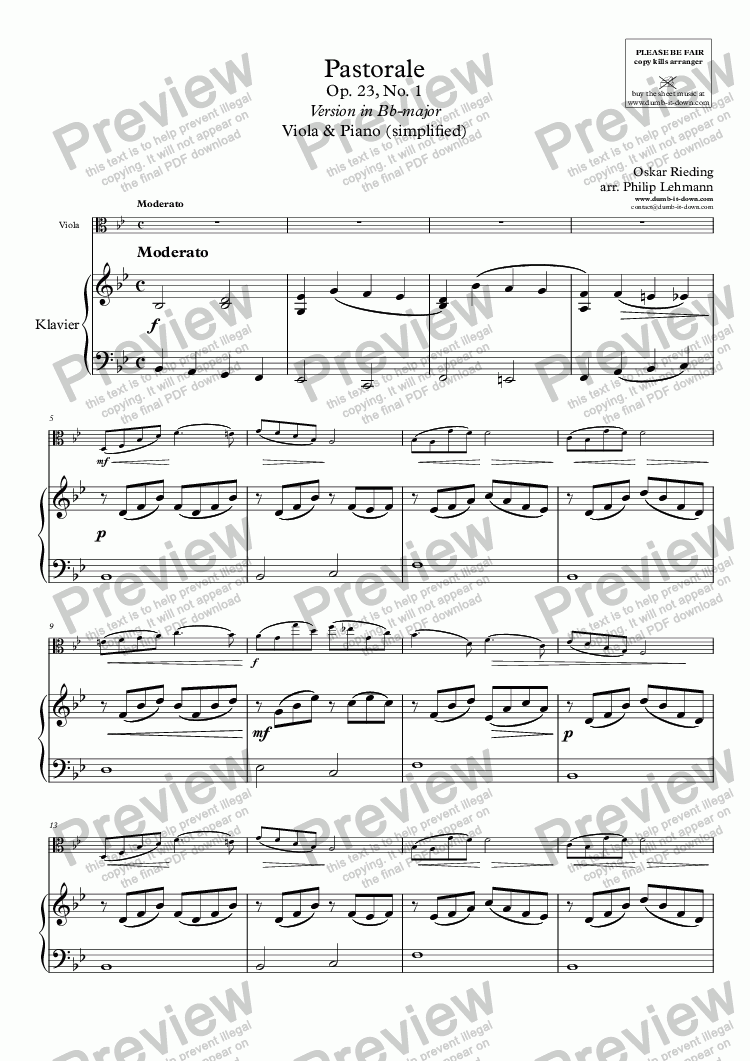 page one of Rieding, O. - Op.23 No.1, Pastorale - for Viola (orig.) & Piano (simplified)