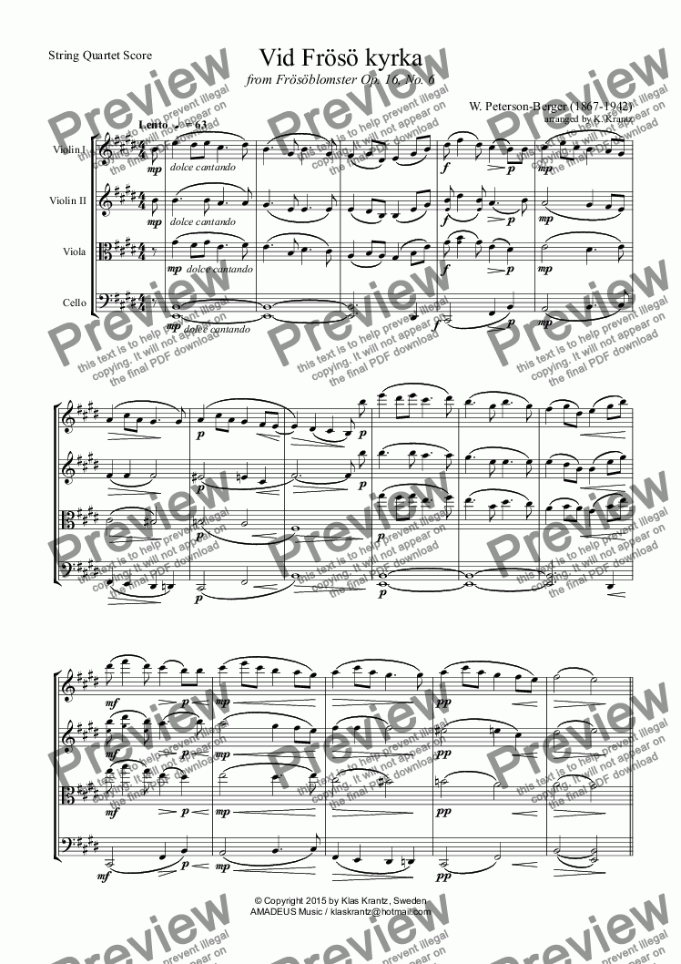 page one of Vid Frösö kyrka for string quartet