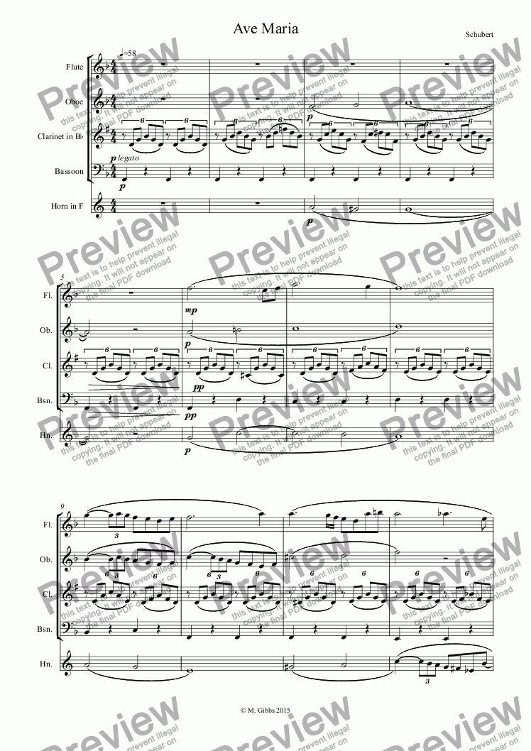 page one of Schubert: Ave Maria - for wind quintet