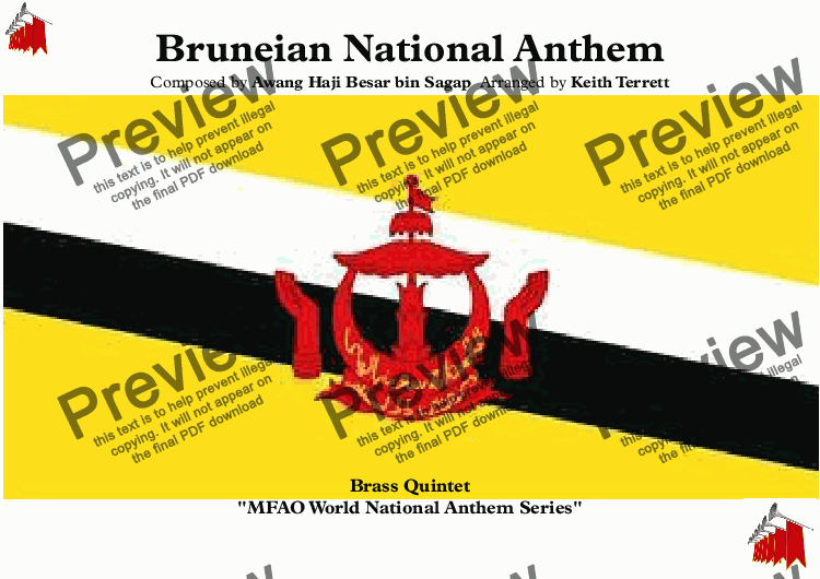"page one of Bruneian National Anthem ""Allah Peliharakan Sultan"" - ""God Bless His Majesty"" for Brass Quintet (MFAO World National Anthem Series)"