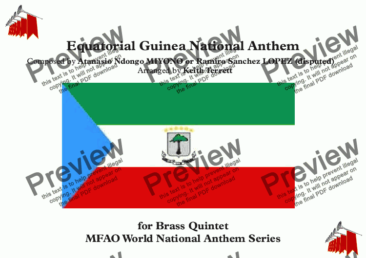 page one of Equatorial Guinea National Anthem for Brass Quintet (MFAO World National Anthem Series)