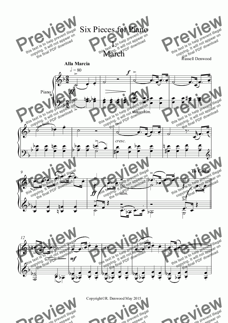 page one of Denwood - 6 moderately easy pieces for Piano