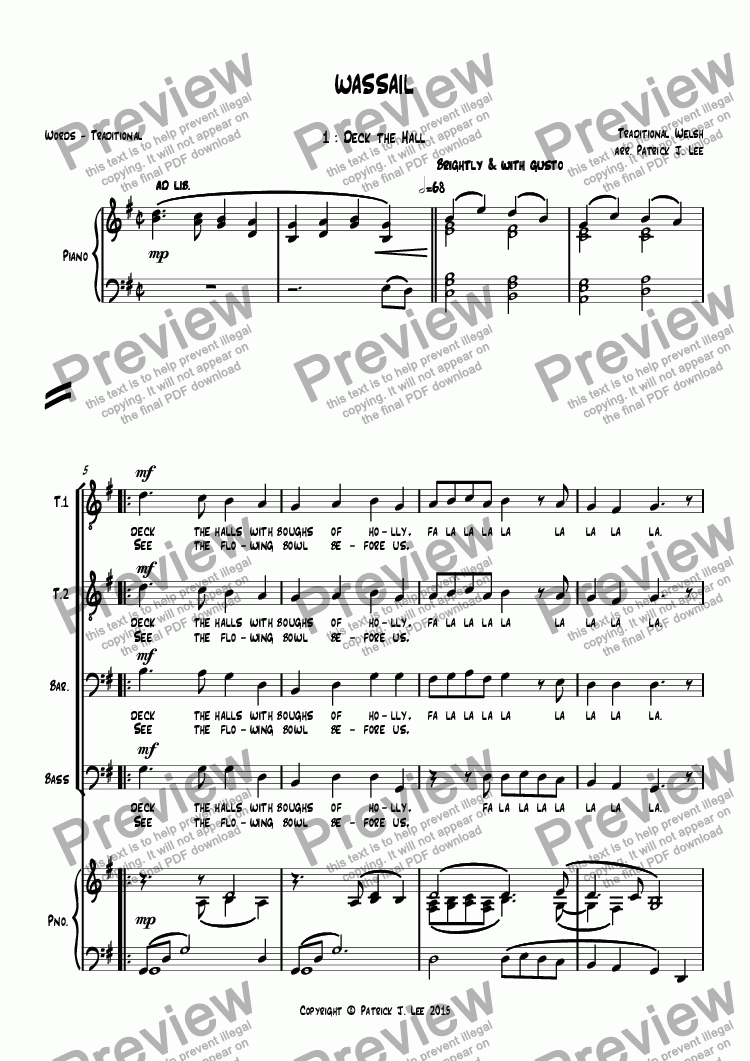 page one of Wassail (for TTBB chorus and piano)