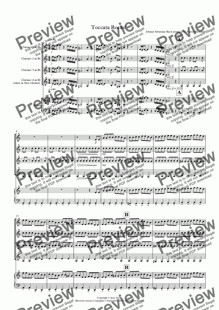 page one of Toccata by Bach Rocks! for Clarinet Quartet