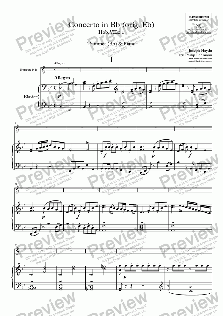 page one of Haydn, J. - Concerto in Bb (orig. Eb), Hob.VIIe:1 - for Trumpet (orig.) & Piano (simplified)