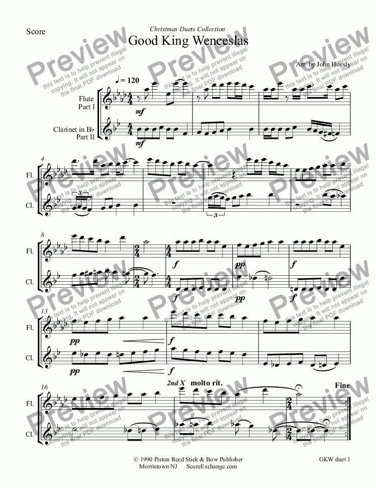 page one of Good King Wenceslas- duet flute and clarinet