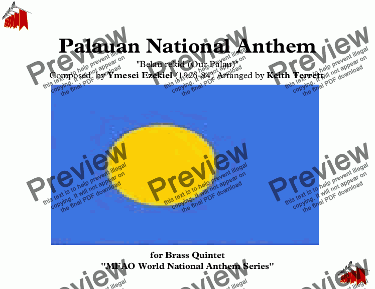 page one of Palauan National Anthem for Brass Quintet (MFAO World National Anthem Series)ASALTTEXT