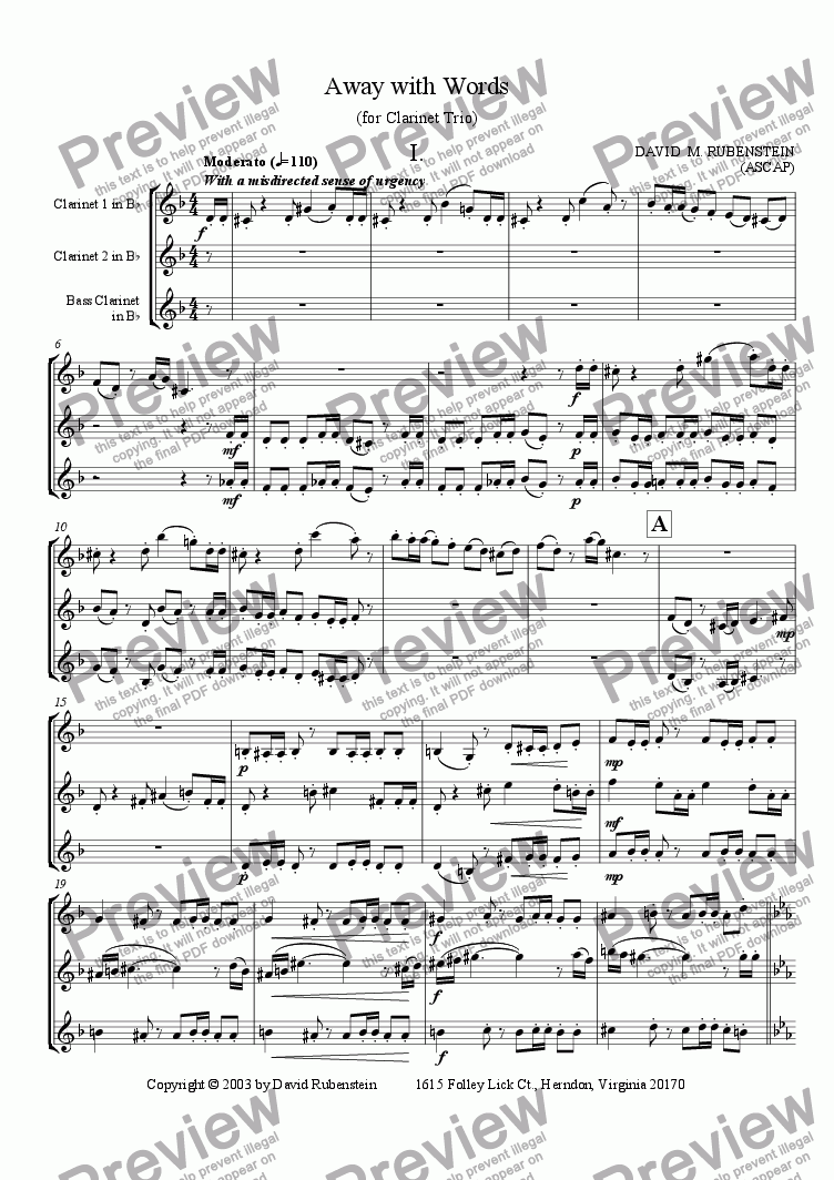page one of Away with Words (for Clarinet Trio)ASALTTEXT