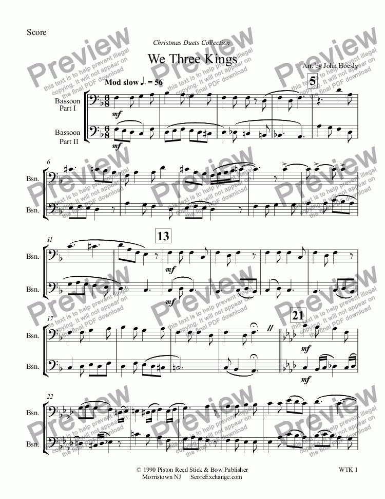 page one of We Three Kings- duet bassoon and bassoon