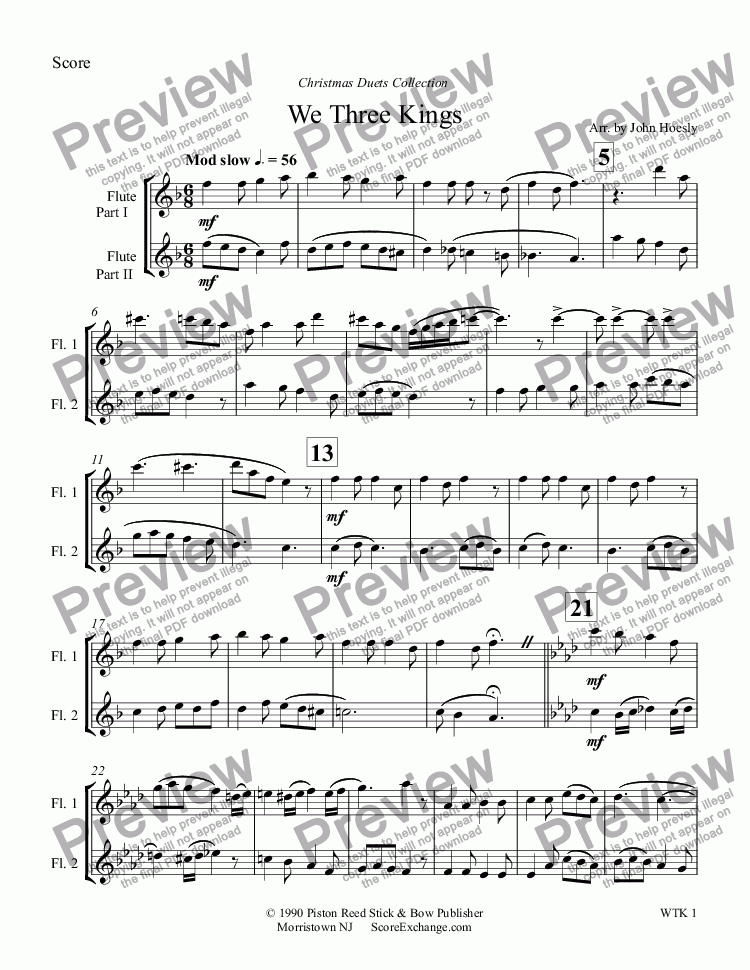page one of We Three Kings- duet flute and fluteASALTTEXT
