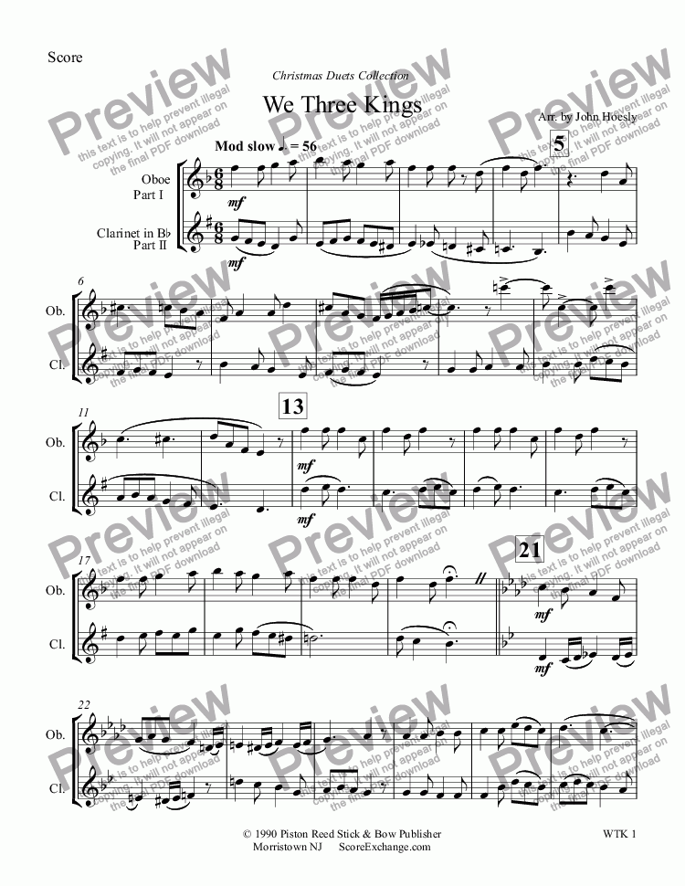 page one of We Three Kings- duet oboe and clarinet
