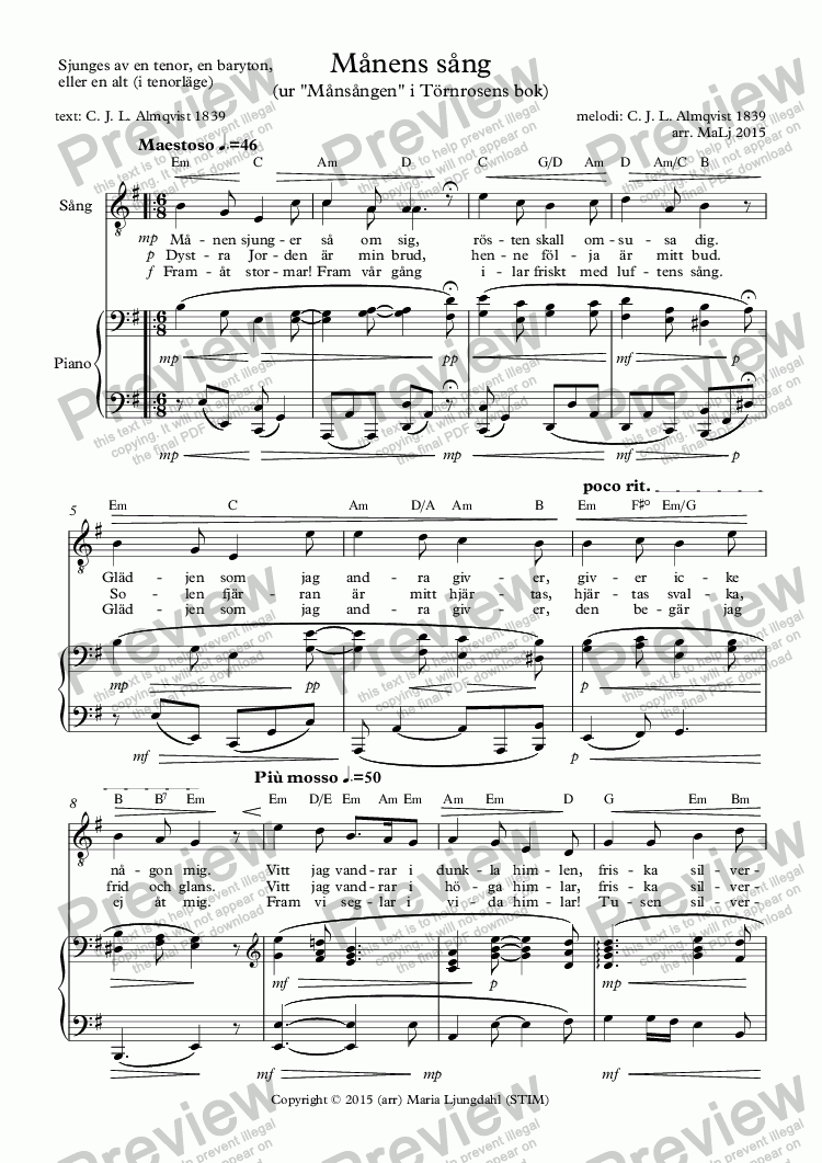 page one of Månens sång
